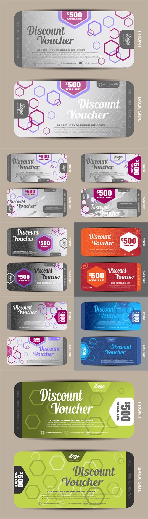 Vector Voucher Illustrations on the Gradient Background and Hexagon Pattern