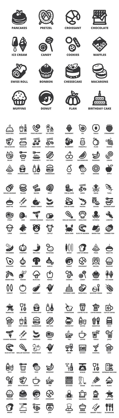 Vector Food Flat Icons. Black