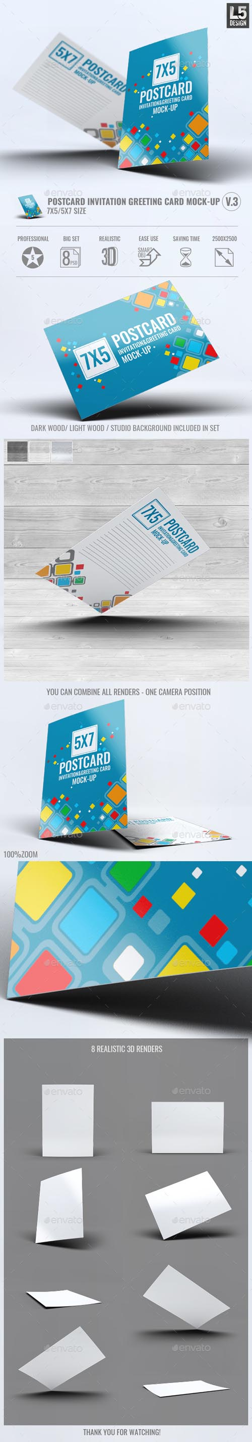 Postcard Invitation Greeting Card Mock-Up V.3 13399096