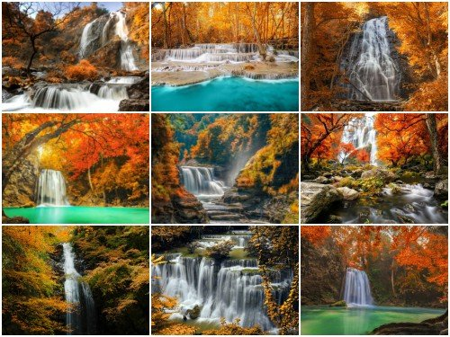 60 Autumn Waterfalls Wallpapers Mix