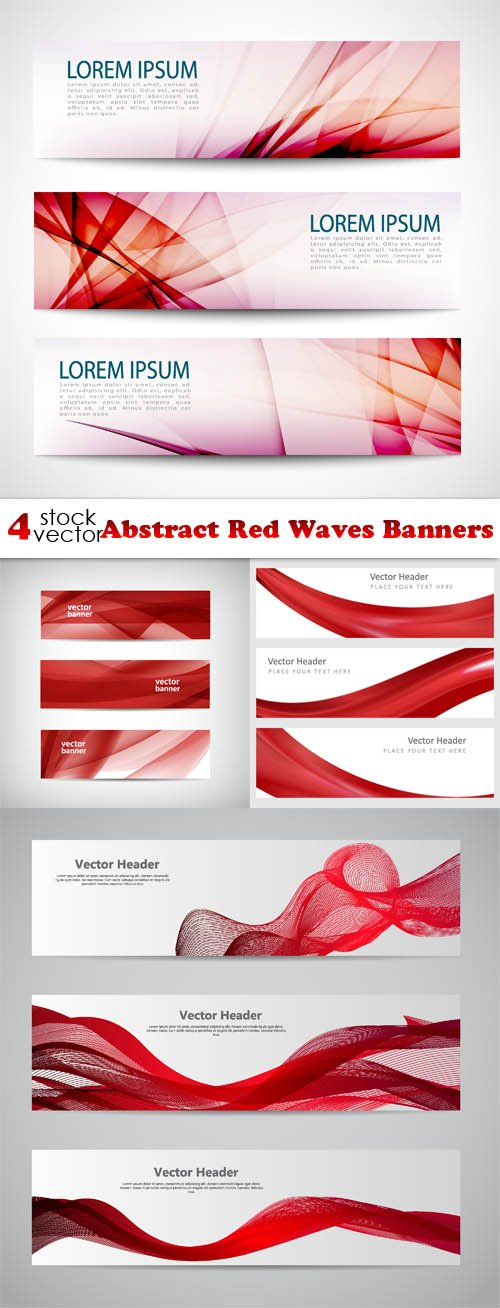 Vectors - Abstract Red Waves Banners