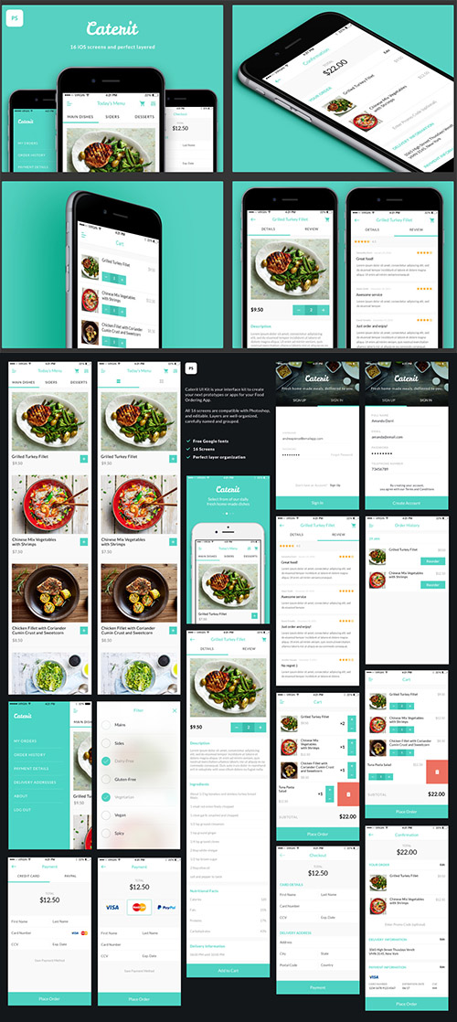 Caterit UI Kit - Food catering & delivery app UI