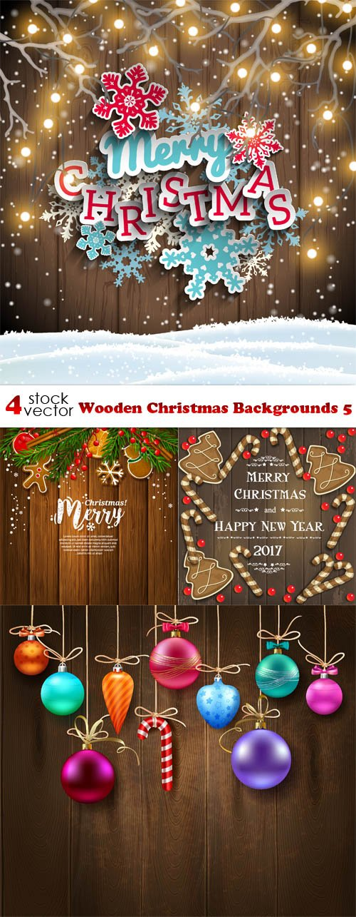 Vectors - Wooden Christmas Backgrounds 5