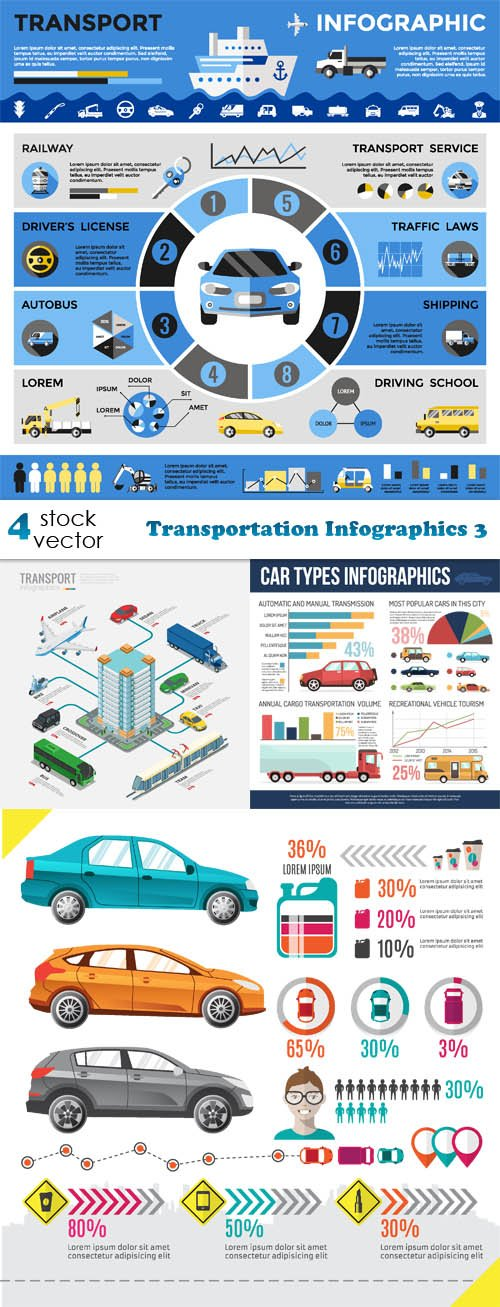 Vectors - Transportation Infographics 3