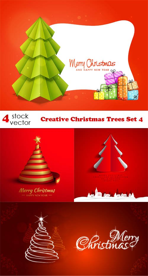 Vectors - Creative Christmas Trees Set 4