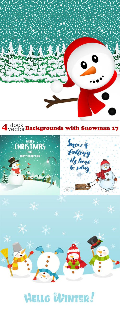 Vectors - Backgrounds with Snowman 17
