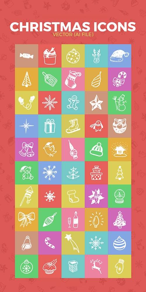 Ai Vector Web Icons - 50 Flat Christmas And New Year 2017 Icons
