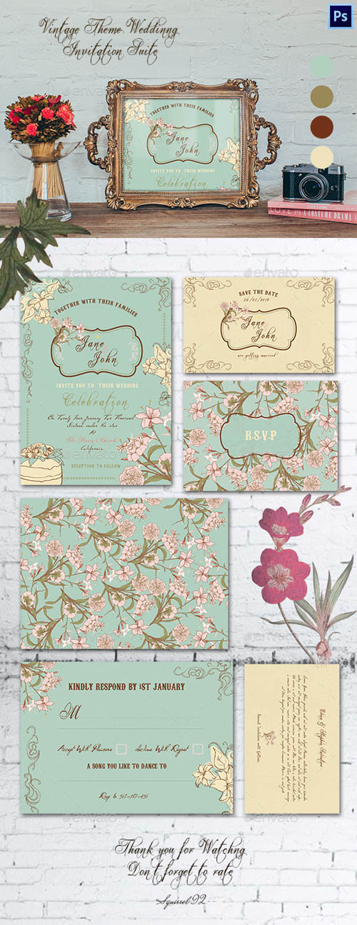 Vintage Theme Wedding Invitation Suite 13729731