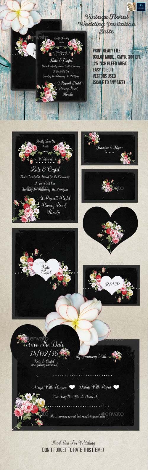 Vintage Floral Wedding Invitation Suite 14447556