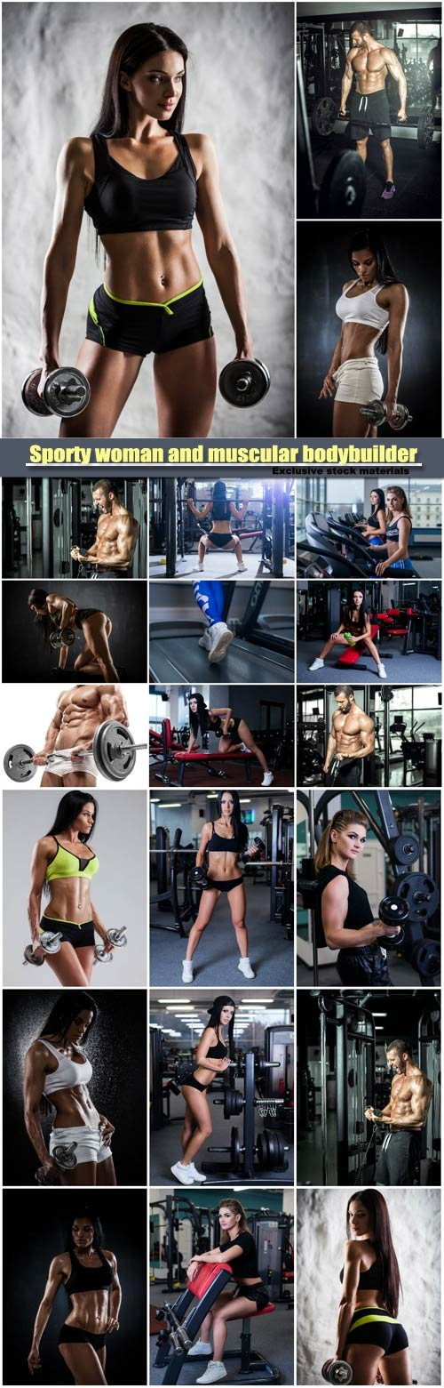 Sporty woman and attractive muscular bodybuilder doing power fitness exercise at sport gym