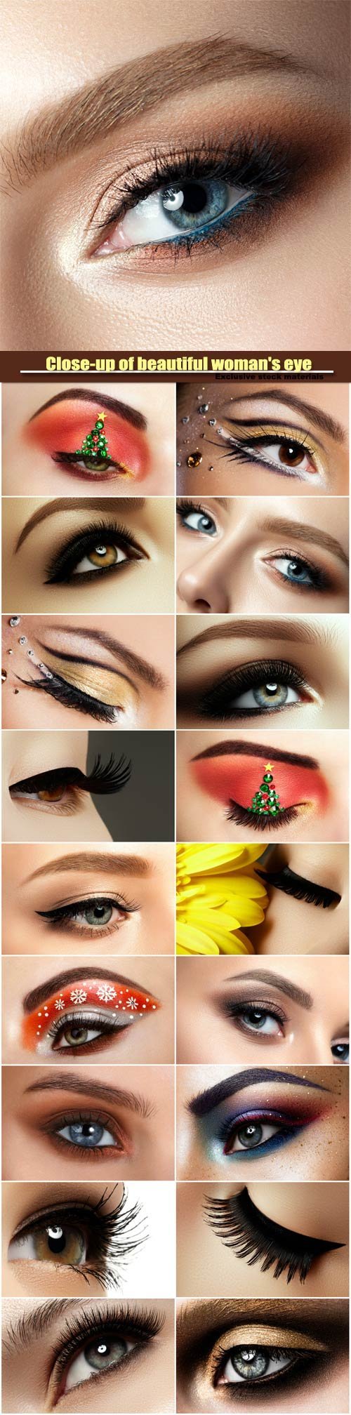 Close-up of beautiful woman's eye, colored eyeshadows, makeover christmas tree