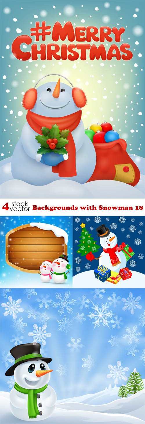 Vectors - Backgrounds with Snowman 18