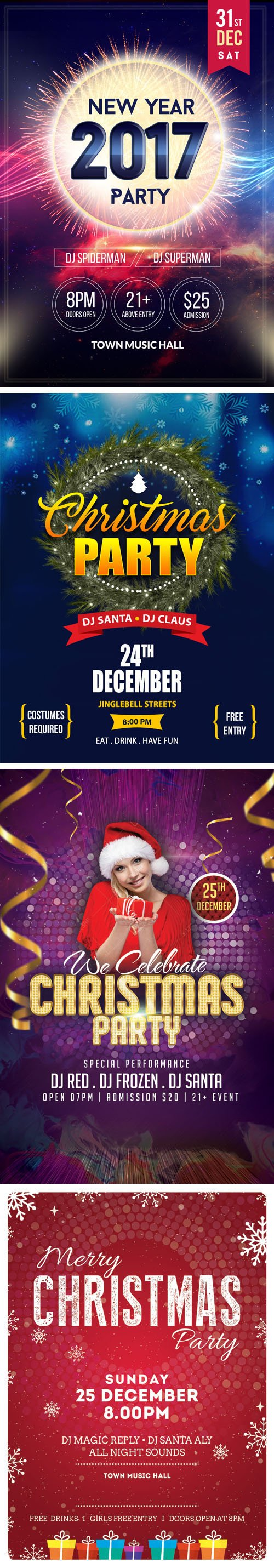 christmas new year party flyer templates psd nitrogfx 4 christmas new year 2017 party flyer templates psd