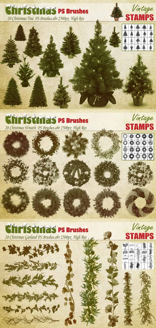 Christmas Tree, Wreath & Garland Photoshop Brushes