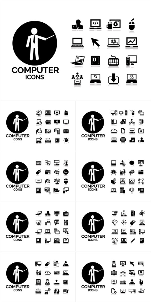 Vector  Black Computers Icons