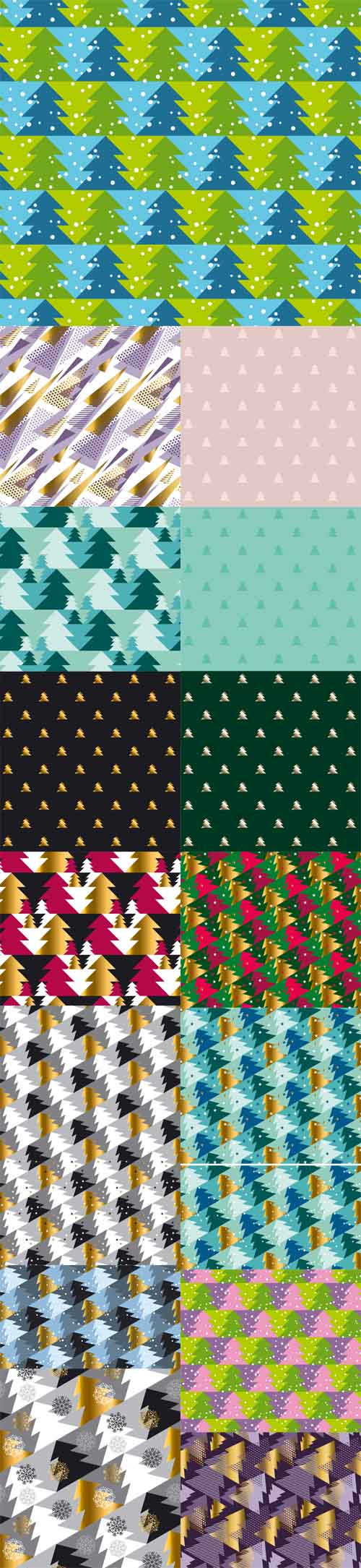 Vector Christmas Tree Seamless Modern Patterns » NitroGFX ...