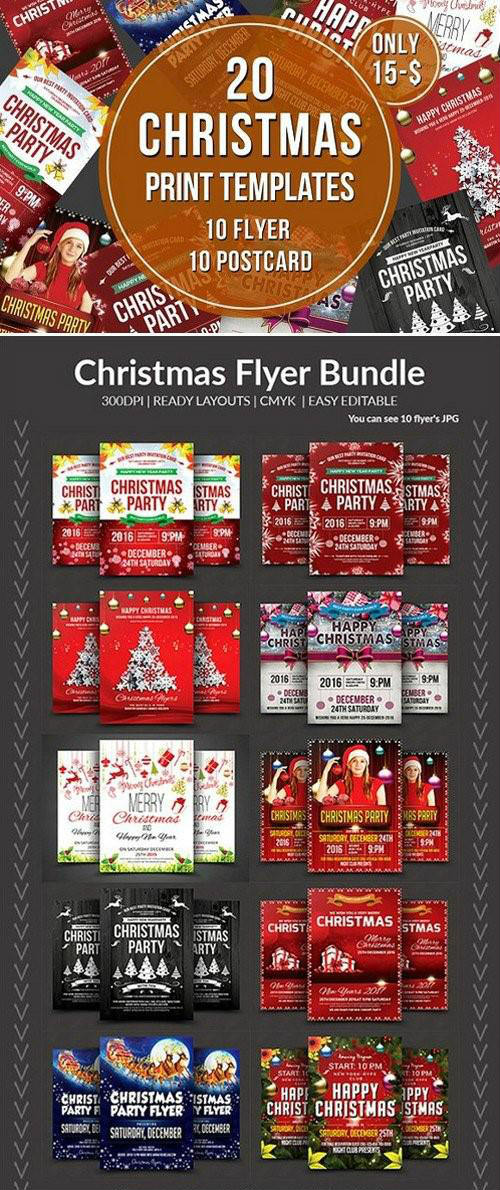 Christmas Flyer & Postcard Bundle 972729