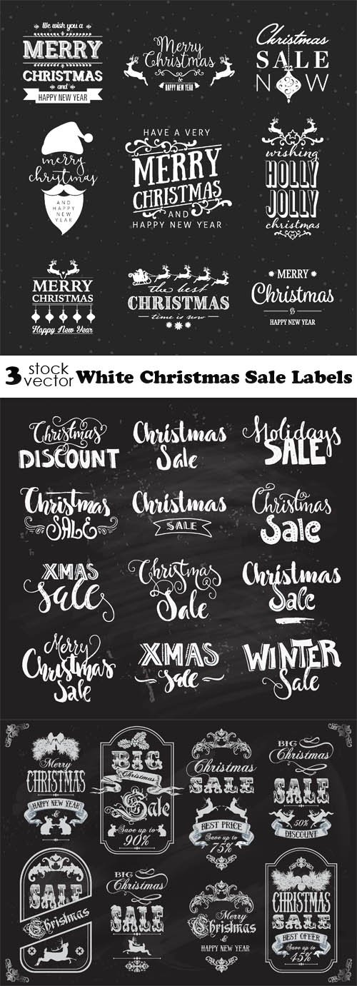 Vectors - White Christmas Sale Labels