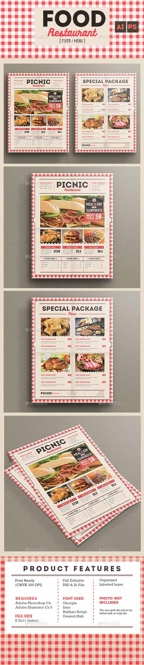 Retro flyer menu food restaurant 13665015