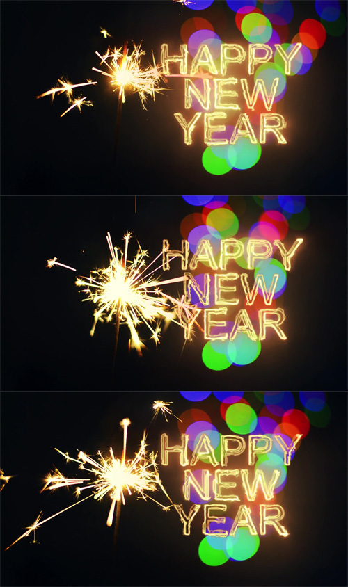 HD Footage - Happy New Year 2017 inscription sparklers on a black background