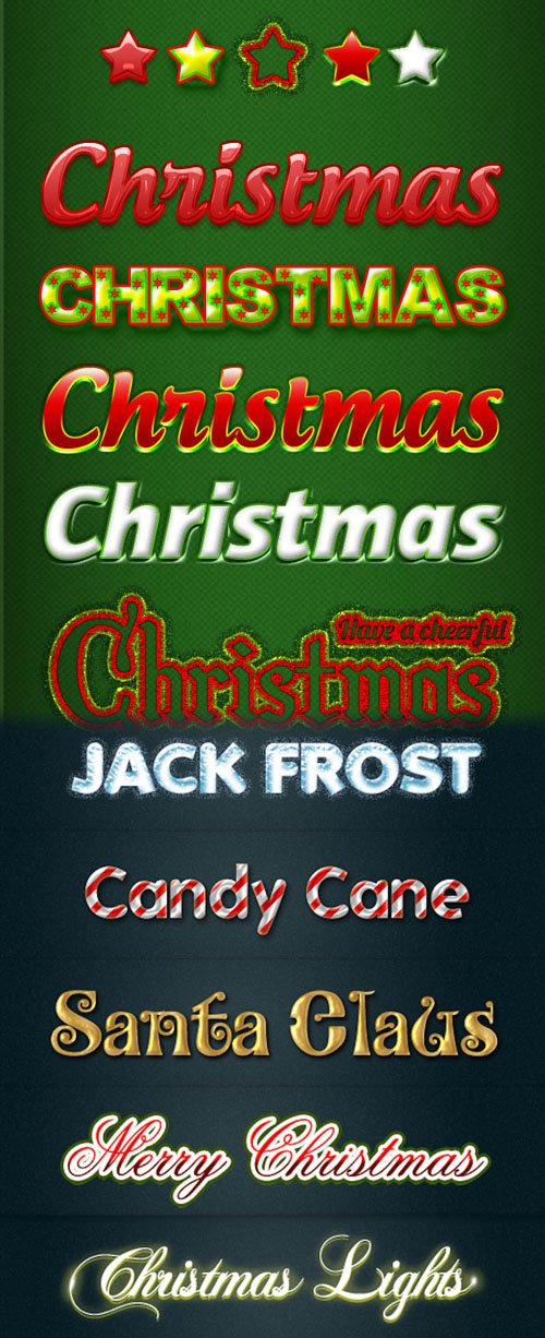 10 Beautiful Christmas Photoshop Text Styles