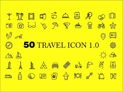 Ai EPS Vector Web Icons - Travel 2016