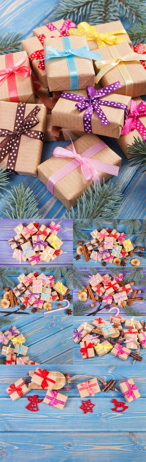 Photo Wooden sled and wrapped gifts with ribbons for Christmas or other celebration