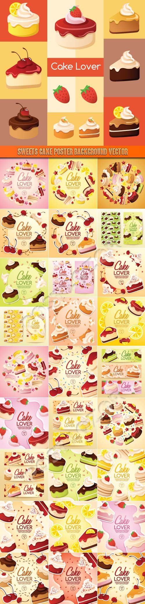 Sweets cake poster background vector