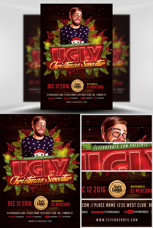 Flyer Template - Ugly Sweater Christmas v2