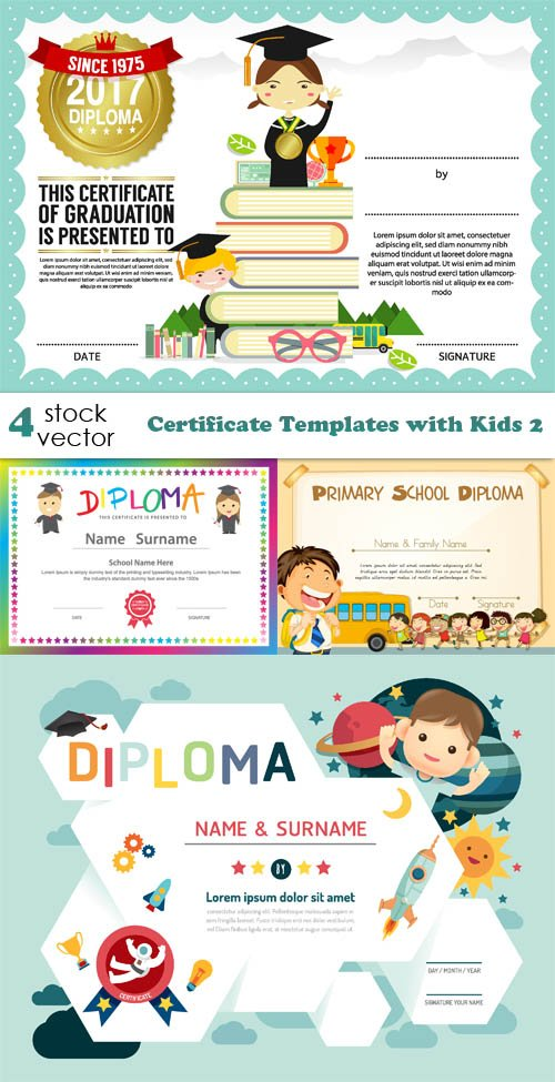Vectors - Certificate Templates with Kids 2
