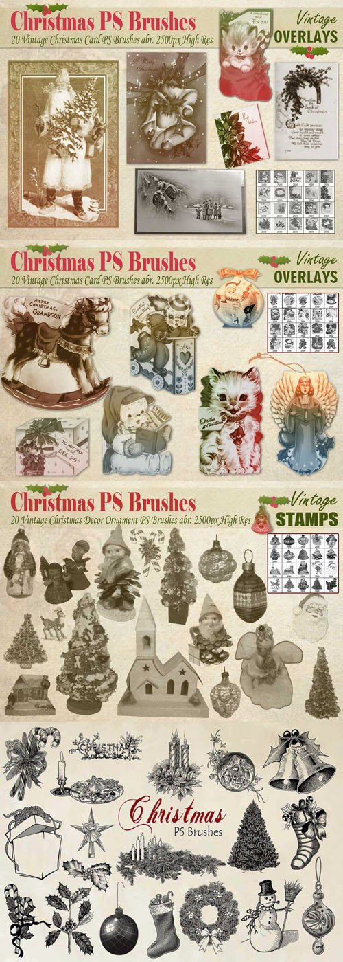 80 Vintage & Engraved Christmas Photoshop Brushes