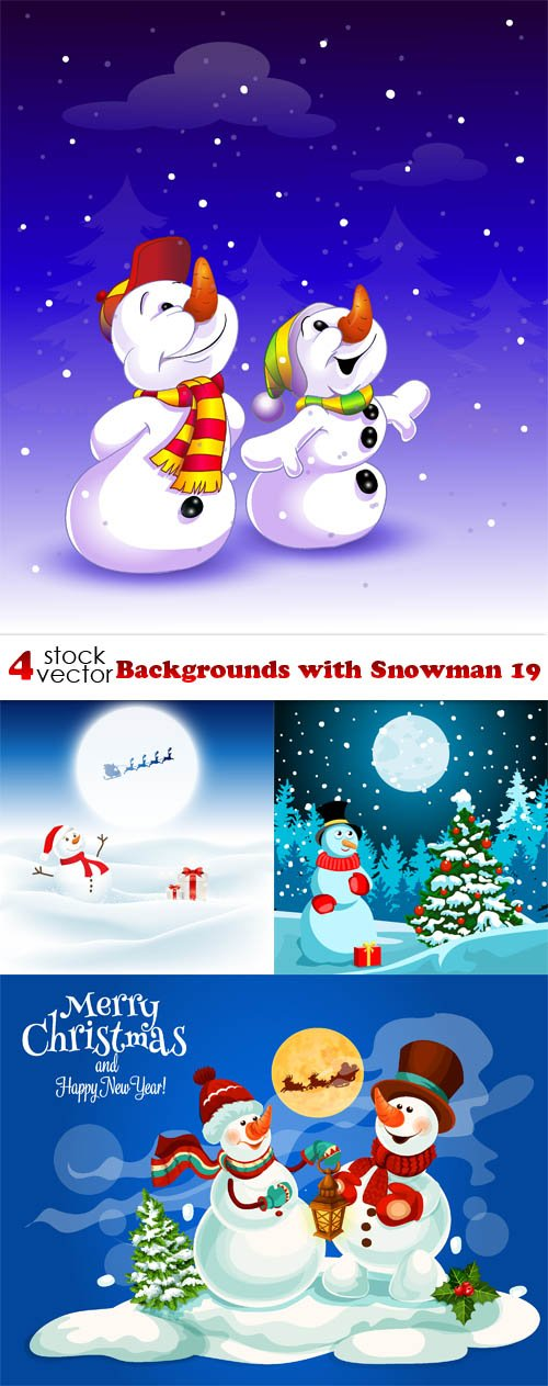 Vectors - Backgrounds with Snowman 19