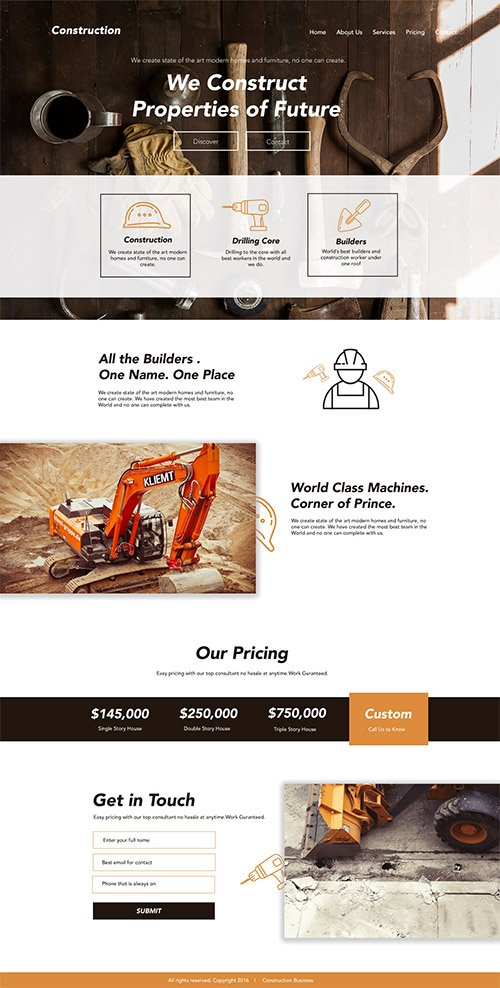 PSD Web Template - Construction - Landing Page