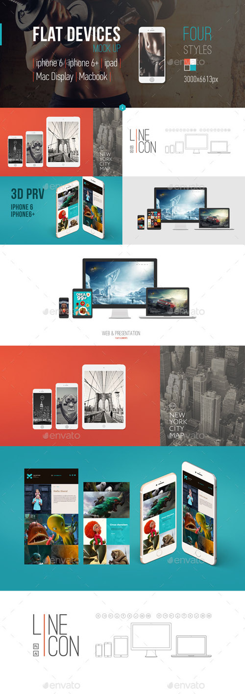 Flat-style Devices Mock-Up (PSD) 9312580