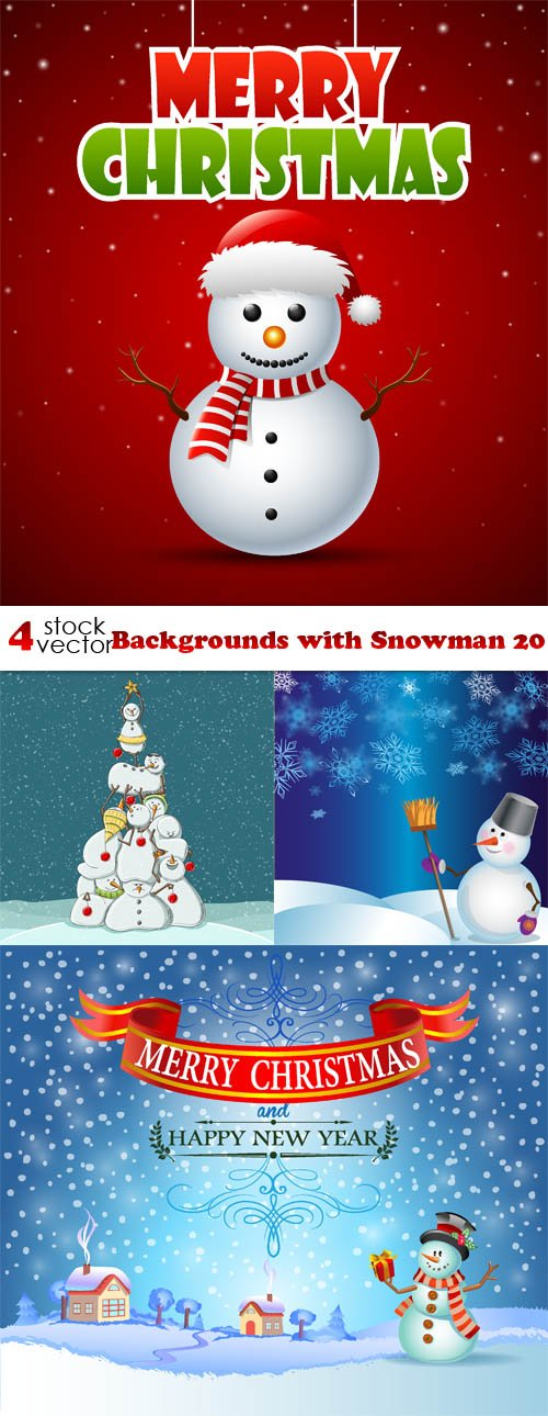 Vectors - Backgrounds with Snowman 20