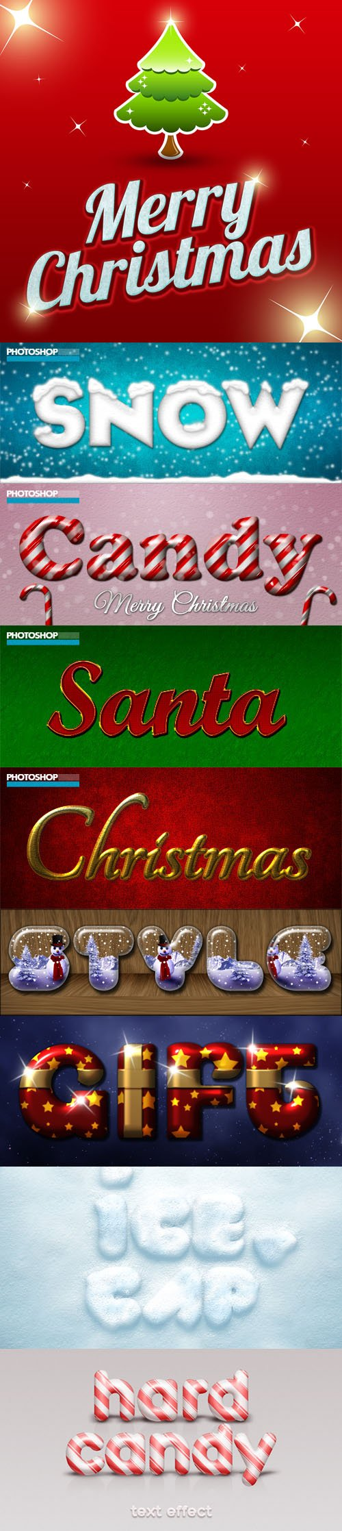 Brilliant Merry Christmas Text Styles for Photoshop (ASL/PSD)