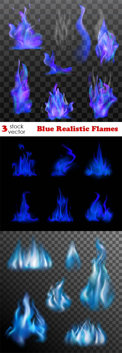 Vectors - Blue Realistic Flames