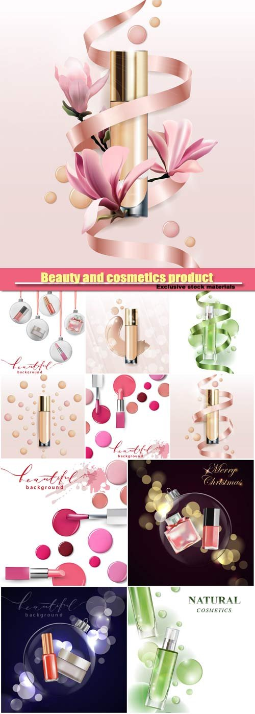 Beauty and cosmetics product vector background