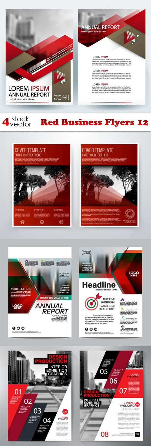 Vectors - Red Business Flyers 12