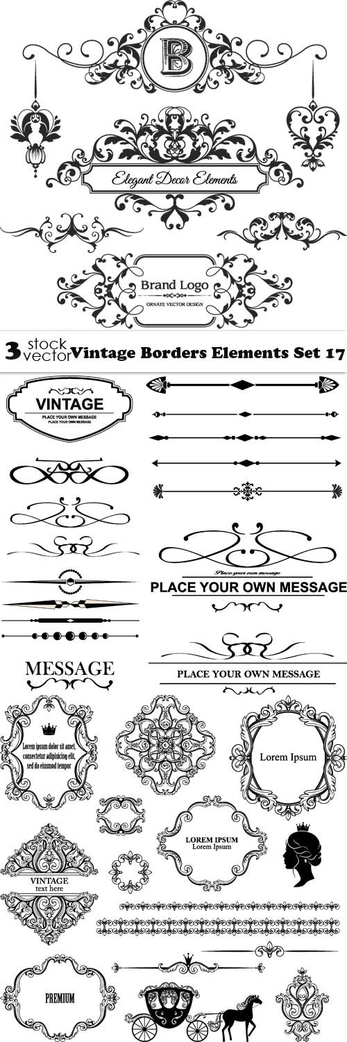 Vectors - Vintage Borders Elements Set 17