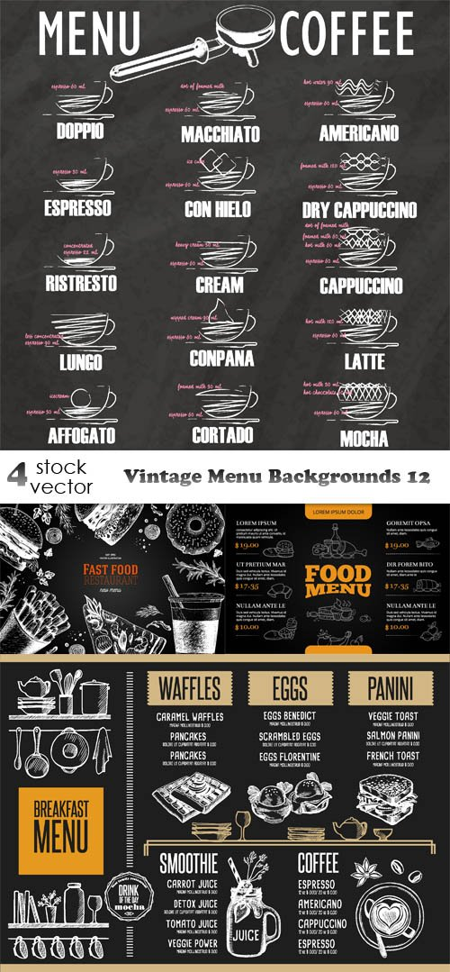 Vectors - Vintage Menu Backgrounds 12