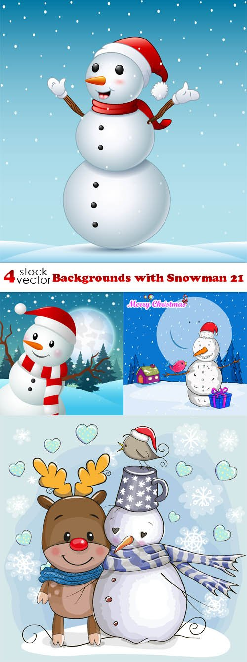 Vectors - Backgrounds with Snowman 21