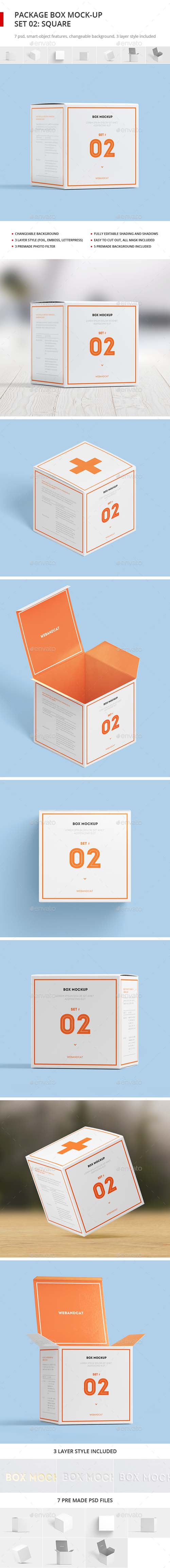 Package Box Mock-up, Set 2: Square Box 17728710