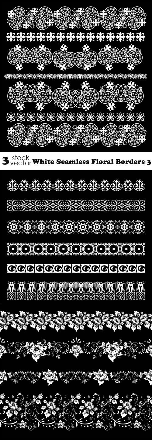 Vectors - White Seamless Floral Borders 3
