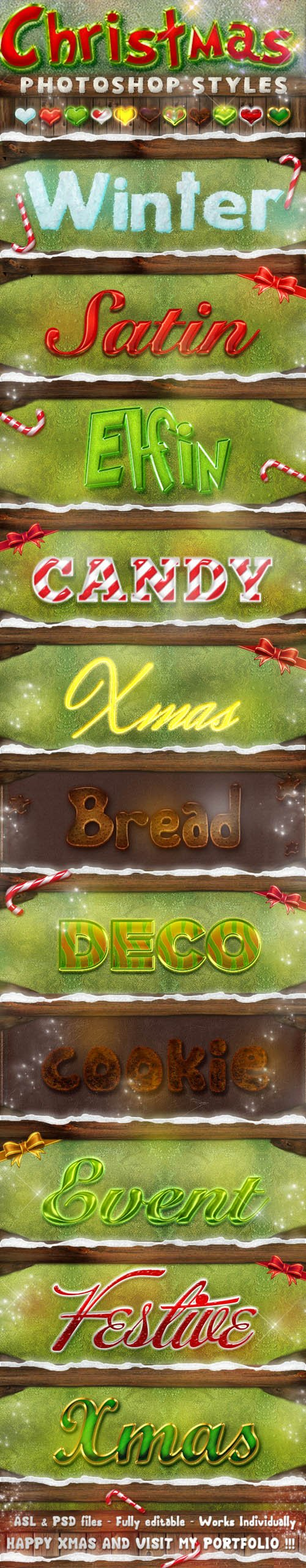 Christmas Photoshop Styles - Text Effects [ASL/PSD]