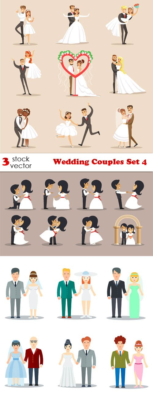 Vectors - Wedding Couples Set 4