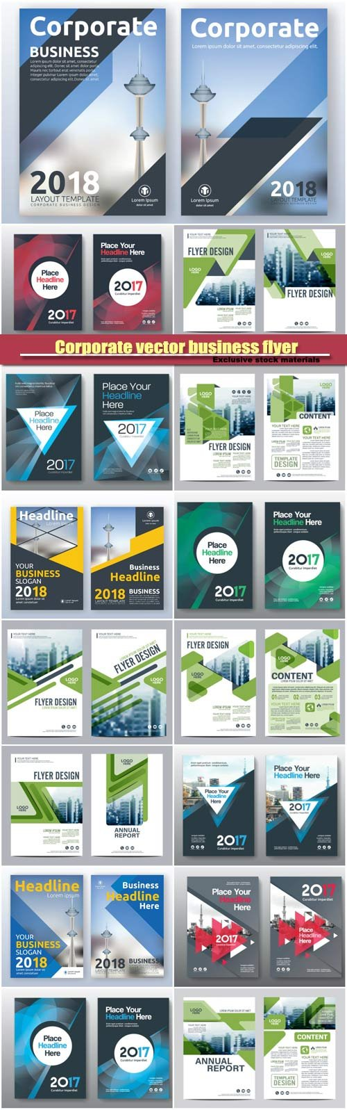 Corporate vector business flyer layout templates design, brochure, book cover