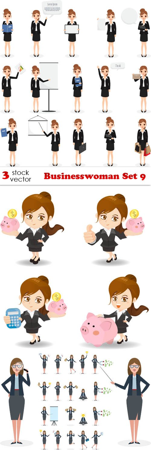 Vectors - Businesswoman Set 9