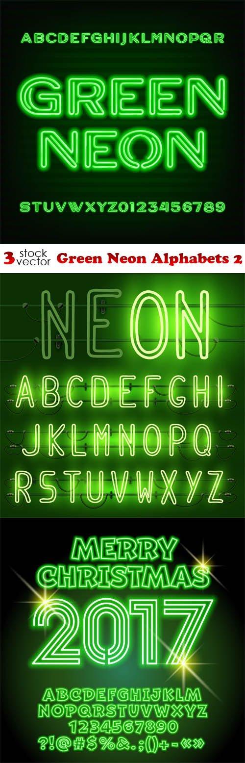 Vectors - Green Neon Alphabets 2
