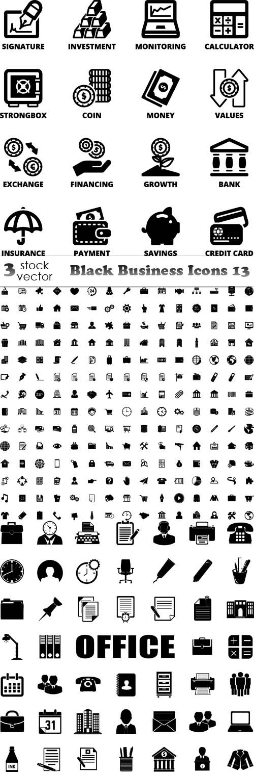 Vectors - Black Business Icons 13